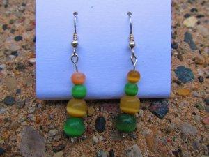 Green & Tan Earrings