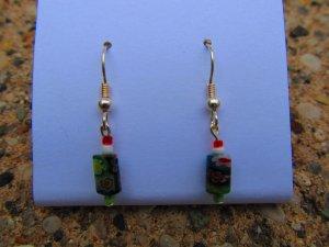 Red & Green Flower Earrings