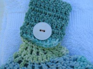 White & Green Hanging Towel