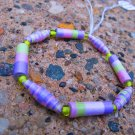 Purple & Green Paper Bead Bracelet