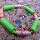 Orange & Green Paper Bead Bracelet