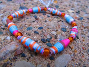 Orange & Brown Paper Bead Bracelet