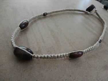 Dark Wood Hemp Macrame Necklace