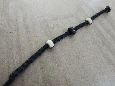 Bone Bead Black Hemp Cord Macrame Bracelet
