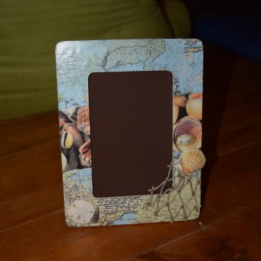 Beach Map Seashell Picture Frame