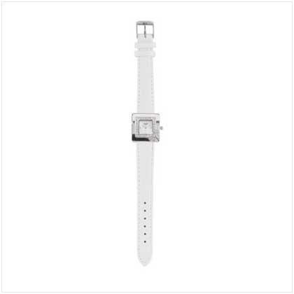 Silver Case White Band Watch