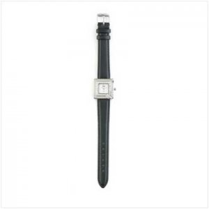 Silver Case Black Band Watch