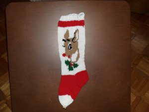 Handcrafted/Hand Made Heritage Knit Christmas Stocking - Reindeer (Item#07)