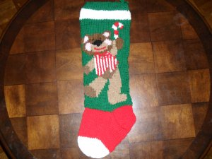 Handcrafted/Hand Made Heritage Knit Christmas Stocking - Christmas Bear (Item#06)
