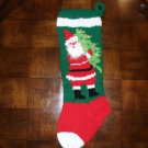 Handcrafted/Hand Made Heritage Knit Christmas Stocking - Santa Carrying Tree (Item#09)