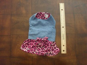 Denim and Pink Leopard Print Dress by Doggie Duds