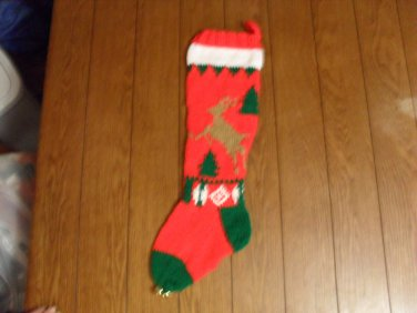Handcrafted/Hand Made Heritage Knit Christmas Stocking - Reindeer w/ Tree (Item#20)