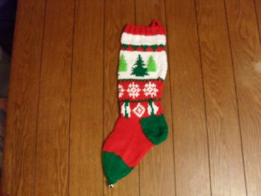 Handcrafted/Hand Made Heritage Knit Christmas Stocking - Christmas Trees (Item#22)