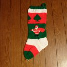 Handcrafted/Hand Made Heritage Knit Christmas Stocking - Small Santa w/Bag and Trees (Item#30)