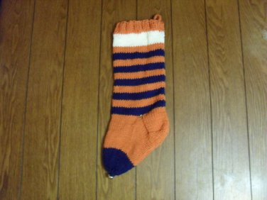 """Handcrafted/Hand Made Heritage Knit Stocking - """"Tiger Time 2"""" (Item#34)"""