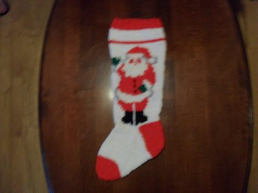 Handcrafted/Hand Made Heritage Knit Christmas Stocking - Santa on White (Item #47)