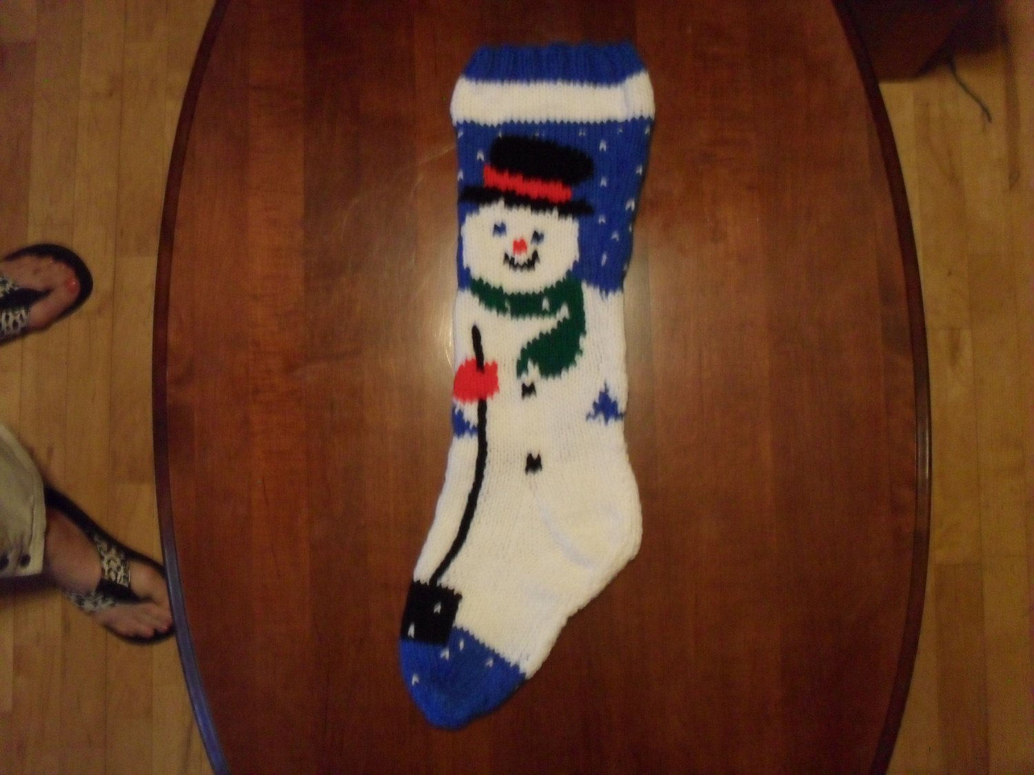 Handcrafted/Hand Made Heritage Knit Christmas Stocking - Snowman on Blue (Item #51)