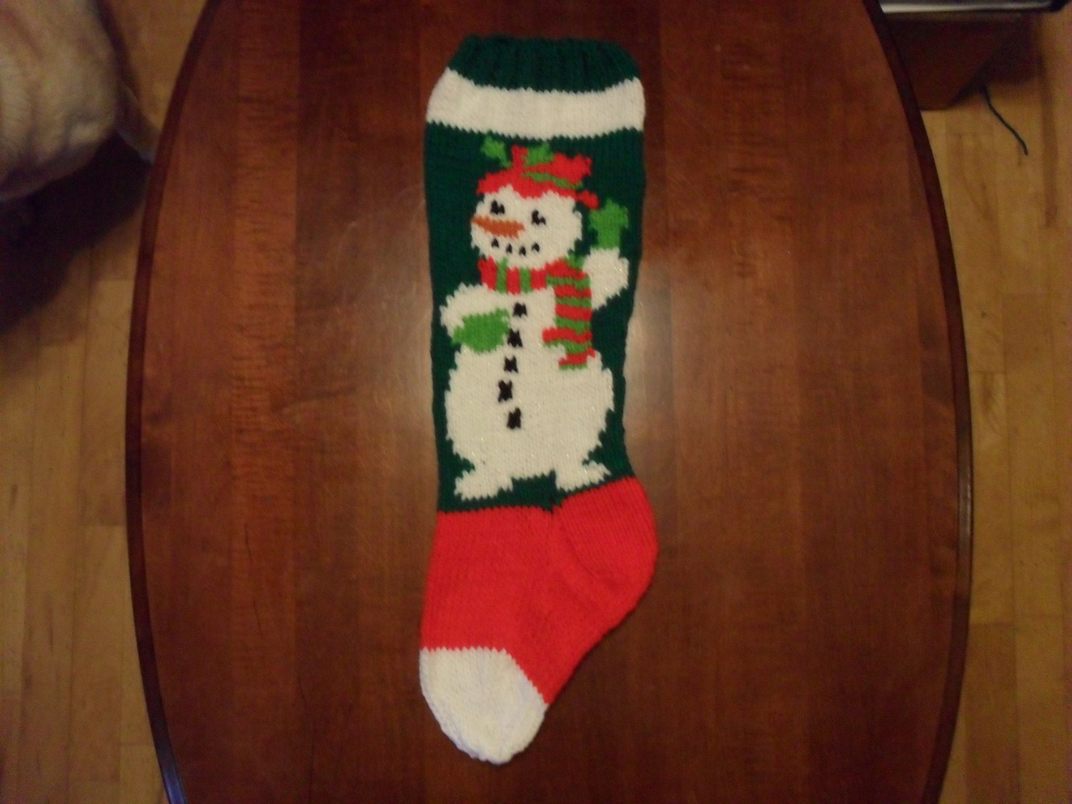 Handcrafted/Hand Made Heritage Knit Christmas Stocking - Sparkling Snowman (Item #52)