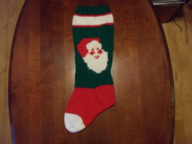 Handcrafted/Hand Made Heritage Knit Christmas Stocking - Santa Claus (Item#16)