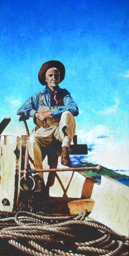 "Cowboy Art ""Louis von Tempsky"" 24"" x 48"" Painting by Maui Artist Matt Holton"