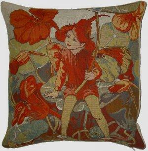 Tapestry Panel RED NASTURTIUM FAIRY Cicely Barker 14x14
