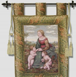 Tapestry Wallhanging - MADONNA + Child & Little St. John, Free Shipping
