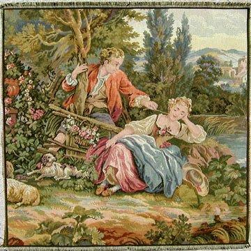 Tapestry Fabric Panel THE SLEEPING SHEPHERDESS 20x20