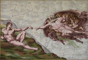 Tapestry Fabric Panel THE CREATION Michelangelo 20x30