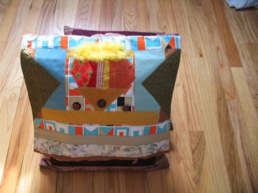 Pillow cover Fabric collage Whimsical Hand made