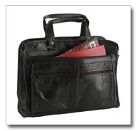Maxam Brand Genuine Leather Briefcase Features Outside Zippered Pockets On Both Sides