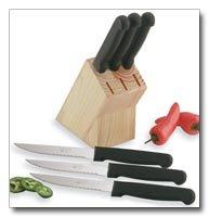 Diamond Cut Steak Knives in wood block