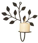 Wrought Iron Branch and Leaf Wall Sconce