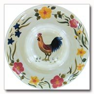 Maxam Rooster Pattern Hand Painted Stoneware Chip And Dip Serving Dish