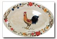 Maxam Rooster Pattern Hand Painted Stoneware Oval Platter