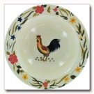 Maxam Rooster Pattern Hand Painted Stoneware Shallow Bowl