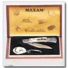 Maxam Lockback Knife and Key Chain Set in blonde wood box