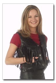 Giovanni Navarre Italian Stone Design Fringed Leather Vest - Large