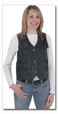 Giovanni Navarre Genuine Lambskin Solid Leather Ladies Black Vest - Medium