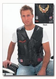 Diamond Plate Rock Design Genuine Buffalo Leather Biker Black Vest - Large