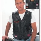 Diamond Plate Rock Design Genuine Buffalo Leather Biker Black Vest - Extra Large