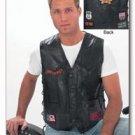 Diamond Plate Rock Design Genuine Buffalo Leather Biker Black Vest - Extra Large