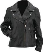 Evel Knievel Ladies Black Genuine Leather Classic Motorcycle Jacket - Large