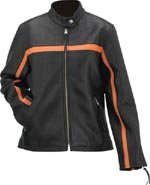 Evel Knievel Ladies Genuine Leather Black/Orange Racing Jacket - Medium