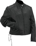 Evel Knievel Ladies Black Genuine Leather Perforated Multi-Season Jacket - Extra Large
