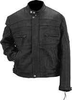 Evel Knievel Mens Black Genuine Leather Sport Touring Jacket - Extra Large