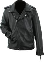 Evel Knievel Mens Black Genuine Leather Classic Motorcycle Jacket - Large