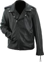 Evel Knievel Mens Black Genuine Leather Classic Motorcycle Jacket - Extra Large