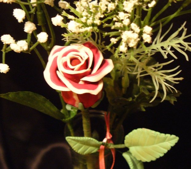 Rose Bouquet # 28 Polymer Clay Rose & Leaves -handmade By Treasure Vallie