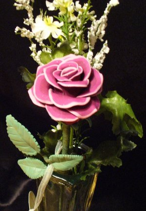 Rose Bouquet # 30 Polymer Clay Rose & Leaves -handmade By Treasure Vallie