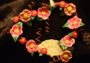 Heart Wreath Ornament # 2 handmade from Polymer Clay by Treasure Vallie